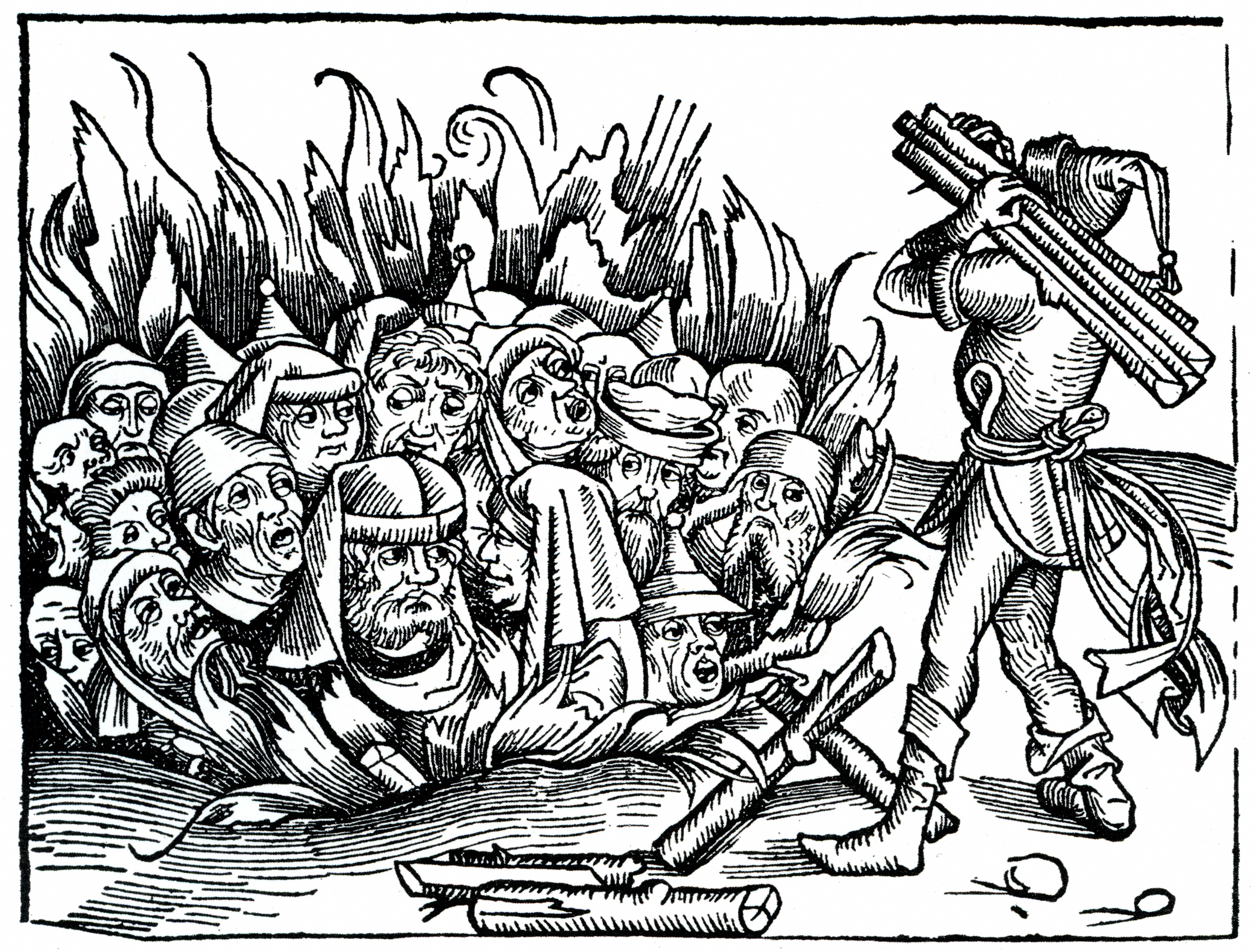 Jews burnt during the bubonic plague, accusing them in the contamination of christians wells (woodcut illustration from Nuremberg Chronicle, 1493)